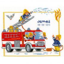 Kit point de croix - Vervaco - Chez les pompiers