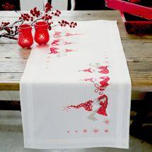 Kit de chemin de table à broder - Vervaco - Gnomes de Noël