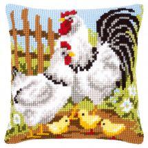 Kit de coussin gros trous - Vervaco - Famille de poules à la ferme