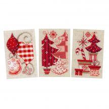 Kit de carte à broder  - Vervaco - 3 cartes de motifs de Noël