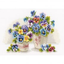 Kit point de croix - Vervaco - Vases avec violettes
