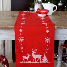 Kit de chemin de table à broder - Vervaco - Cerfs de Noël