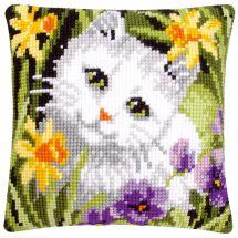 Kit de coussin gros trous - Vervaco - Chat blanc dans les jonquilles