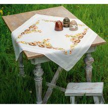 Kit de nappe à broder - Vervaco - Hérissons et feuilles d'automne