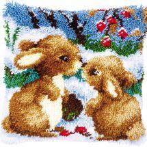 Kit de coussin point noué - Vervaco - Lapins dans la neige