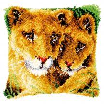 Kit de coussin point noué - Vervaco - Lionne avec lionceau