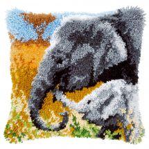 Kit de coussin point noué - Vervaco - Eléphant avec bébé