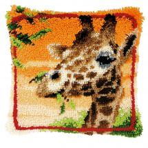 Kit de coussin point noué - Vervaco - Girafe mangeant des feuilles