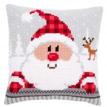 Kit de coussin gros trous - Vervaco - Père Noël avec chapeau à carreaux