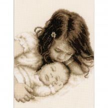 Kit point de croix - Vervaco - Bébé et sa soeur