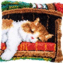 Kit de coussin point noué - Vervaco - Chat dormant