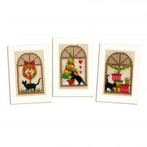Kit de carte à broder  - Vervaco - 3 cartes ambiance de Noël