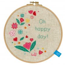 Kit point de croix avec tambour - Vervaco - Oh happy day