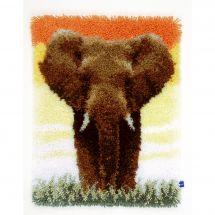 Kit de tapis point noué - Vervaco - Eléphant dans la savane II
