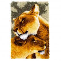 Kit de tapis point noué - Vervaco - L'amitié entre les lions III