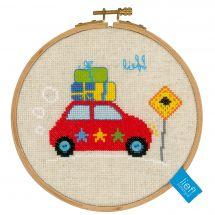 Kit point de croix avec tambour - Vervaco - En vacances en voiture II