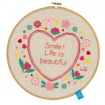 Kit point de croix avec tambour - Vervaco - Le vie est belle