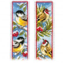 Kit de marque-pages à broder - Vervaco - Oiseaux en hiver