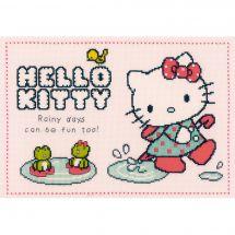 Kit point de croix - Vervaco - Fun sous la pluie - Hello Kitty