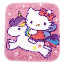 Kit de tapis point noué - Vervaco - Hello Kitty et licorne