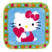 Kit de tapis point noué - Vervaco - Hello Kitty avec coeur