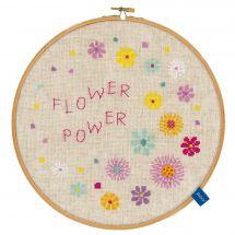 Kit point de croix avec tambour - Vervaco - Le pouvoir des fleurs