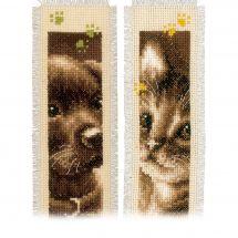 Kit de marque-pages à broder - Vervaco - Chat et chien