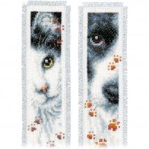 Kit de marque-pages à broder - Vervaco - Chien et chat