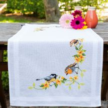 Kit de chemin de table à broder - Vervaco - Oiseaux chanteurs