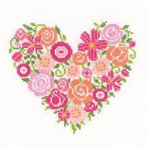 Kit point de croix - Vervaco - Coeur floral