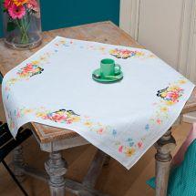 Kit de nappe à broder - Vervaco - Mésanges et fleurs de printemps