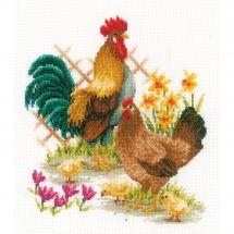 Kit point de croix - Vervaco - Famille de poules