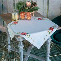 Kit de nappe à broder - Vervaco - Fleurs de Noël