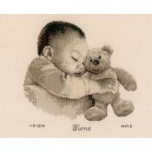Kit point de croix - Vervaco - Bébé avec ours