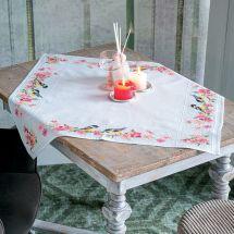 Kit de nappe à broder - Vervaco - Mésanges et fleurs