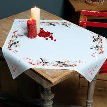 Kit de nappe à broder - Vervaco - Mésanges et baies rouges
