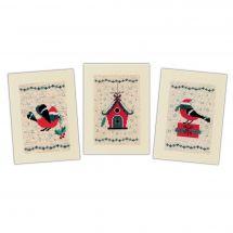 Kit de carte à broder  - Vervaco - 3 cartes Oiseaux et maison de Noël