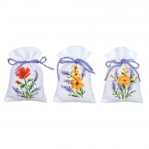 Kit de sachet senteur à broder - Vervaco - 3 sachets - fleurs et lavande