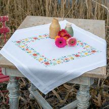 Kit de nappe à broder - Vervaco - Fleurs fraîches