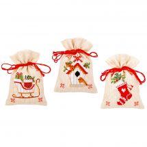 Kit de sachet senteur à broder - Vervaco - Motifs de Noël