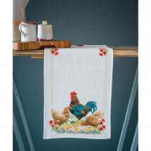 Kit de chemin de table à broder - Vervaco - Coq et poulets