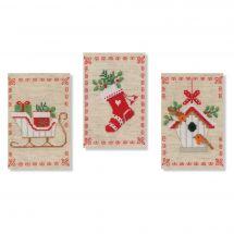 Kit de carte à broder  - Vervaco - 3 Motifs de Noël
