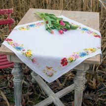 Kit de nappe à broder - Vervaco - Fleurs colorées