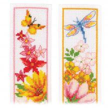 Kit de marque-pages à broder - Vervaco - Fleurs colorées