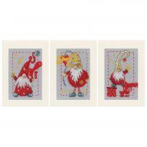 Kit de carte à broder  - Vervaco - 3 cartes à broder - Lutin de Noël