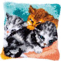Kit de coussin point noué - Vervaco - Trois chats