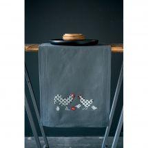 Kit de chemin de table à broder - Vervaco - Coq et poulet