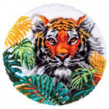 Kit de tapis point noué - Vervaco - Tigre aux feuilles de la jungle
