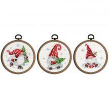 Kit point de croix avec tambour - Vervaco - Gnomes de Noël dans la neige