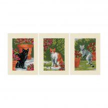 Kit de carte à broder  - Vervaco - Les chats entre fleurs